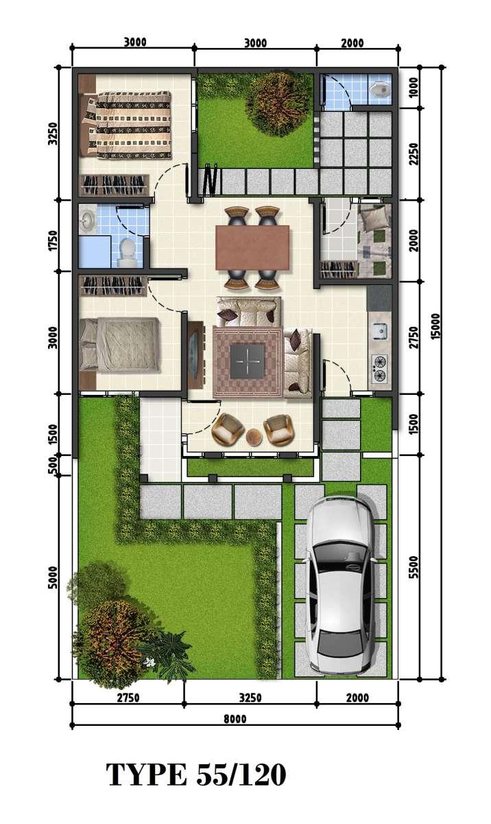 Denah Rumah Minimalis 1 Lantai Type 120 Desain Rumah